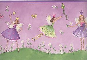 Purple Fairies Wallpaper Border Girls Room Fairy Wallpaper Border Purple Trim