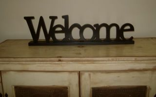 Large Primitive Welcome Word Block Sign Black Letters