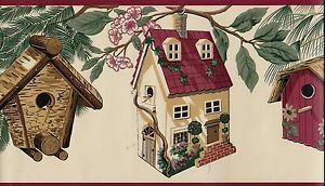Country Birdhouses Red Trim Wallpaper Border