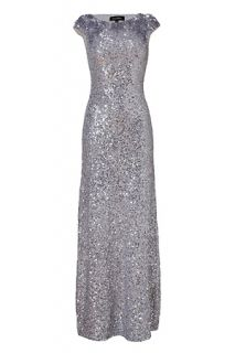 Light Slate Allover Sequined Gown by JENNY PACKHAM