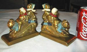Antique K O Kronheim Oldenbusch Boy Girl Child Snow Sleigh Toy Art Bookends