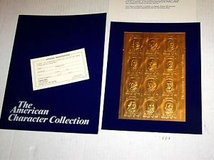 Lot of 5 1975 American Character Collection 23K Gold Foil Stamps Lmtd Ed