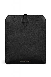 Textured Black Leather Tuffley iPad Case by BURBERRY LONDON