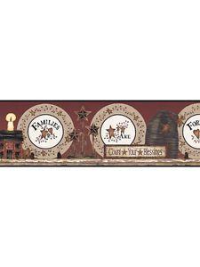 Country Tin Stars Plates Wallpaper Border Family Forever Black Trim BG1616BD