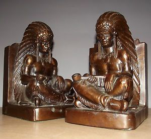 Antique J Lambert War Bonnet Native American Indian Medicine Man Shaman Bookends