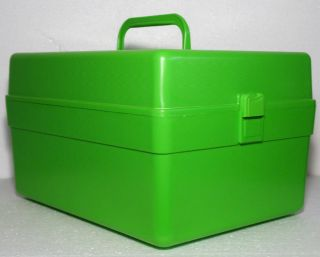 Wilson Wil Hold Green Pattern Case Carry Basket Tote Box Caddy Sewing Craft