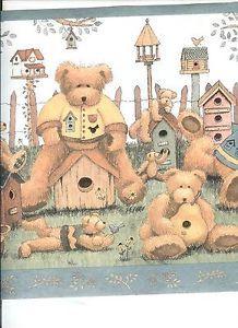 Country Teddy Bears and Birhouses Light Blue Trim Wallpaper Border