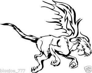 Tribal Flames Griffin Car Vehicle Sticker Decal Graphic
