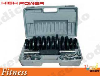 Kit Manubri 15 KG High Power Valigetta Manubri Pesi Pesistica Home Fitness Peso