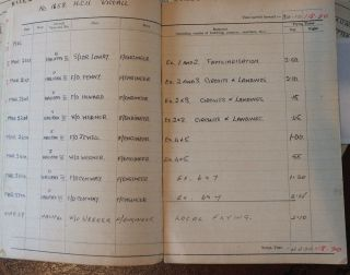 Lot 1 WWII RAF Stirling Halifax Flight Engineer Log Book and Medals