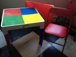 Tot Tutors Child Lego Duplo Building Blocks Table Art Table Folding Chair