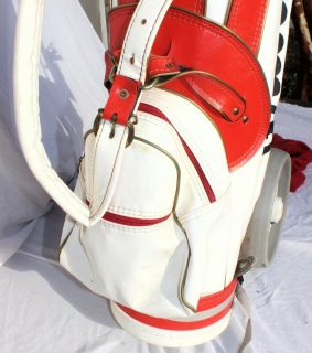 Vintage Wilson Classic Red White Leather Golf Bag Bag Boy My Caddy Pull Cart