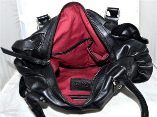 Carlos Santana Femme Fatale Black Faux Leather Shoulder Bag with Side Ruffles