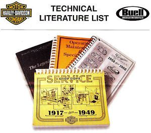 2010 Harley Davidson Buell Literature List for Owners Service Parts Manual