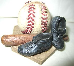 """Russ Berrie and Company """"Yesterday's Ballgame"""" Business Card Holder Item 17175"""