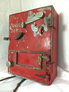 RARE Vintage Antique Cast Iron Horni Co NYC Red Fire Alarm Call Box ORG Glass