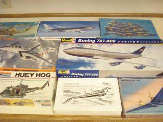 8 Revell Boeing 777 747 Phantom F 14 Hog 1 48th Scale Model Airplane Kits