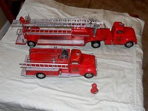 Vintage Tonka Ladder Truck and Fire Engine Pumper with Hydrant