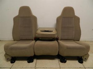 Ford F 250 F 350 F 450 Superduty Truck Front Tan Seats Center Console Jump Seat