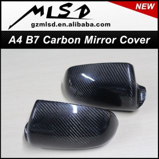 Real Carbon Fiber Side Mirror Cover for Audi A4 S4 B7 A3