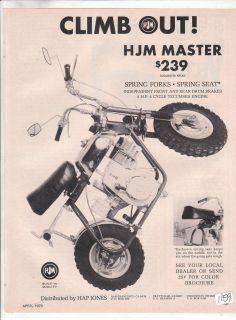 HJM Master Mini Bike Minibike Hap Jones Vintage Motorcycle Advertisement 1970 70