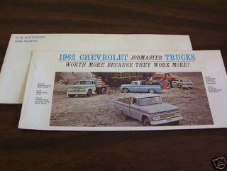 Original 1962 Chevrolet Fleetside Pickup Corvair Dump Truck Envelope Brochure