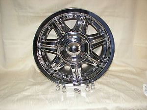 "SSC Chrome 16"" Truck Wheels 5 Lug Ford Truck Wheels Center Caps and Locking Lug"