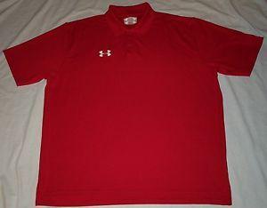 Under Armour Heat Gear Red UPF 30 Odor Control Polo Golf Shirt Men XXL