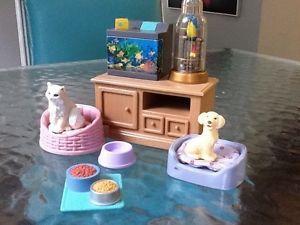 Fisher Price Loving Family Dollhouse Furniture Pet Center Dog Cat Bird Aquarium