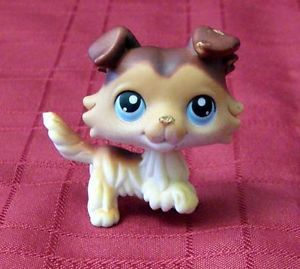 Littlest Pet Shop LPS Collie 58 Caramel Chocolate Brown Blue Eyes Flawed