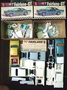 2 Old AMT 1967 Ford Fairlane GT Alexander BR Car Model Kits 1 25 Junkyard Parts