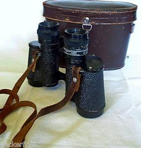 WWII Huet Binoculars with Carrying Case 127136 Miralux 8x30 Magnification Paris