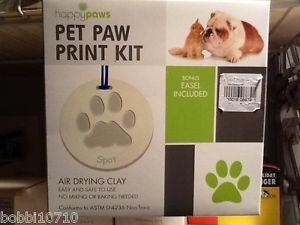 Pet Dog Cat Memorial Paw Print Christmas Ornament Kit Air Dry Bonus Stand Easel