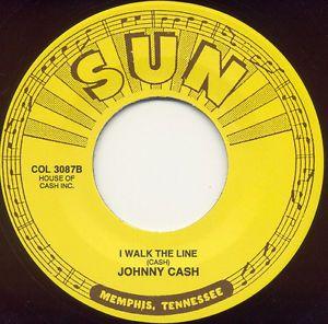 "45 Johnny Cash I Walk The Line Folsom Prison Blues Sun 7"" 56"