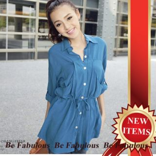 Sexy High Fashion Koran Street Style Loose Button Front Shirt Top M L XL 1x 2X