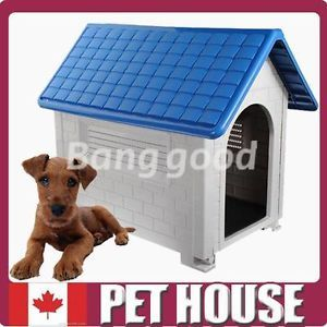 New Large Plastic Pet Dog Puppy Cat House Home Kennel Outdoor Shelter Apex Roof