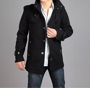 2012 Men's Casual Wool Coat Winter Trench Coat Overcoat Long Jacket Black Gray
