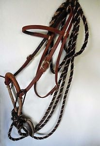 Vintage Hackamore Hand Braided Horse Hair Mecate Rawhide Bosal Headstall RARE
