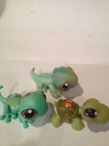 Lot 3 Littlest Pet Shop Green Turtle 7 Lizard 111 Iguana 97 Brown Eyes Retired