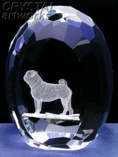 Pug 3D Laser Etched Crystal Art Easter Egg 33E