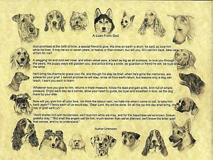 """Dogs"" Pet Memorial Poem Print   A Loan from God, a Loving Tribute"