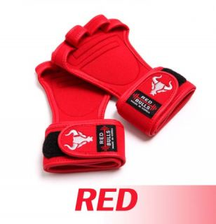 Red Korean Sports Power Strap Weight Lifting Martial Arts Body Building Gloves