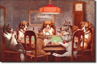 7 Dogs Playing Poker Cards Vintage Metal Tin Sign Ad Game Room Casino Wall Decor