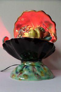 Vtg 50s 60s Retro Art Deco Ceramic Sea Life Fish Aquarium Table Lamp Night Light
