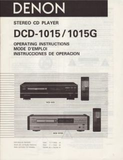 Denon DCD 1015 CD Player Owners Manual Printed in English French Spanish