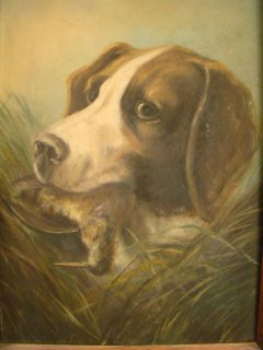 Antique Victorian Era Hunting Dog Bird Old Folk Art Hound Portrait Painting