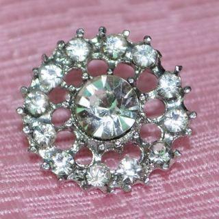 10 Pcs Shining Flower Sparkling Crystal Rhinestone Button Silver Tone
