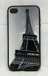 iPhone 4 I Phone 4S Case Eiffel Tower Paris VI Custom Black Rubber Cell Cover