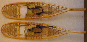"Wood and Rawhide Leather Cabelas Canada Snowshoes Snow Shoes 10"" x 46"""