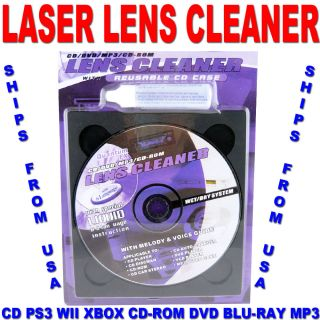 Laser Lens Cleaner CD PS3 Wii Xbox CD ROM DVD Blu Ray  Wet and Dry Ships Free